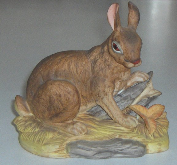 Royal Crown Rabbit Figurine Bisque Porcelain - Signed J. Byron