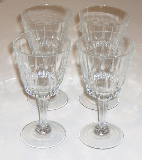 "Cut Crystal Large Wine or Water Glass - 7 1/4"" Faceted Stem Set of 4"