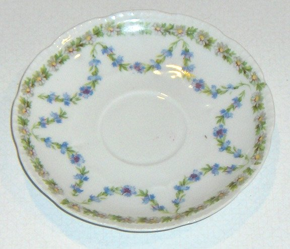 Royal Rudolstadt Beyer & Bock Scalloped Beaded Saucer - Bachelor Button Swags / Daisies Trim