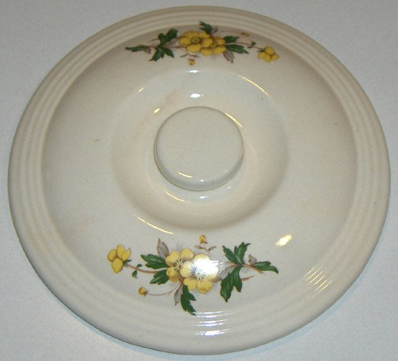 Vintage Ceramic Casserole Lid Cover - Eggshell White with Yellow Buttercup Floral
