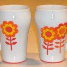 Vintage Mod Flower Power Orange Red Mugs - Set of 2