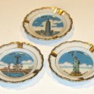 Vintage Souvenir NYC Ashtrays - Coney Island, Statue of Liberty & Empire State Building
