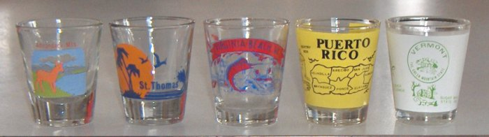 Vintage Souvenir Shot Glasses - Set of 5