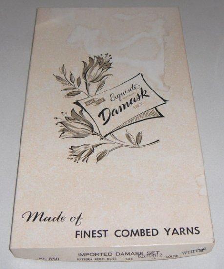 Vintage SunGlo Damask Regal Rose 62 x 104 Tablecloth & 12 Napkins