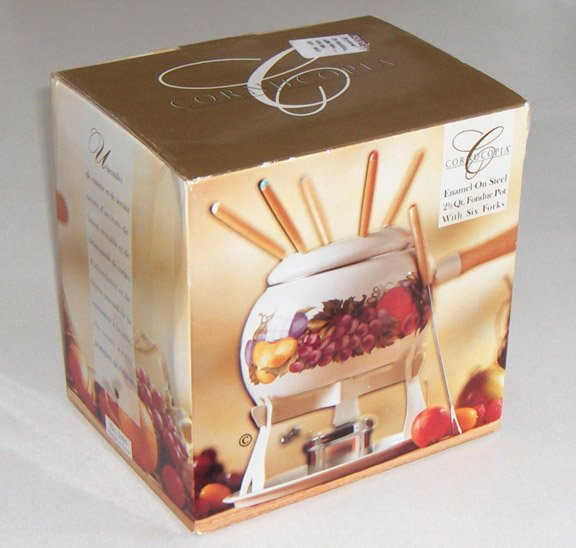 1995 Cornucopia Enamelware Fondue Set by Metro Marketing MIB