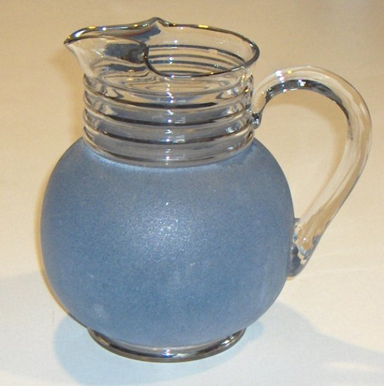 Vintage Stippled Glass Ball Pitcher with Ice Lip