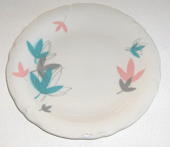 Vintage Shenango Retro Pink Aqua Leaves SHO03 Dinner Plate