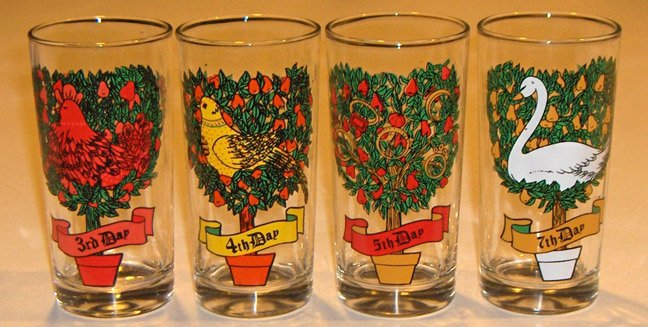 Vintage Indiana Glass 12 Days of Christmas Single Glass Replacement - 5 1/2""
