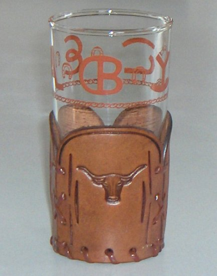 Vintage Bamco of Colorado Tumbler in Tooled Leather Holder Coaster