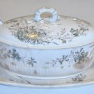 Vintage Imperial China Japan Soup Tureen, Ladle and Platter - Blue Brown Floral Transferware