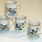 Vintage Stoneware Mugs - Set of 4 Wildlife Duck Images
