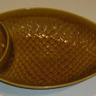 Vintage Embossed Ceramic Fish Divided Platter for Chips & Dip USA