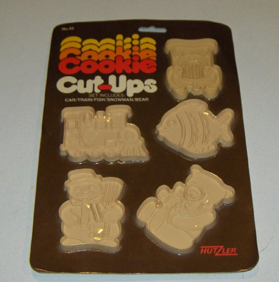 Vintage Hutzler Plastic Cookie Cut-Ups Cutters - Car, Train, Fish, Snowman, Bear - Original Pkg 1981