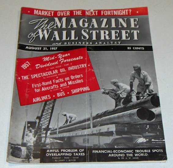 Vintage Magazine - The Magazine of Wall Street and Business Analyst Aug. 31, 1957 Issue