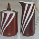 Vintage Cmielow Krokus Cocoa Brown / Gold Creamer & Sugar Bowl with Lid