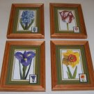 Set of 4 - USPS Stamp Spring Flowers Blossoms Framed Art Prints