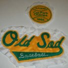 "Vintage Local Baseball Jacket Emblems Set of 2 - ""Old Sod Baseball"" 1985 Caz Park Champs"