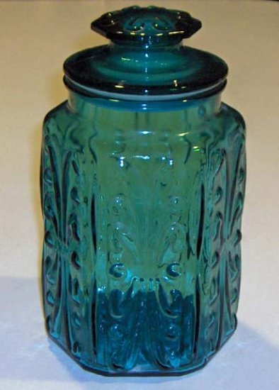 Federal Glass Scrolls Embossed Blue Glass Hexagon Jar Canister with Lid