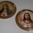 Vintage Religious Round Wall Plaques - Set of 2 Goldtone Frames with Domed Glass