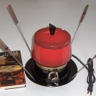 Vintage Cornwall Model #5234 Fondue Set - Flame Red Enamel with Black Base, Fondue Cookbook