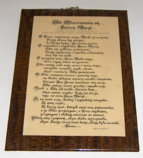 Vintage Religious Prayer Wall Plaque - Akt Ofiarowania sie Sercu Maryi - Poland