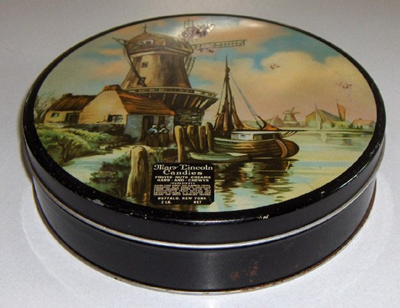 Vintage Mary Lincoln Candies Windmill Candy Tin