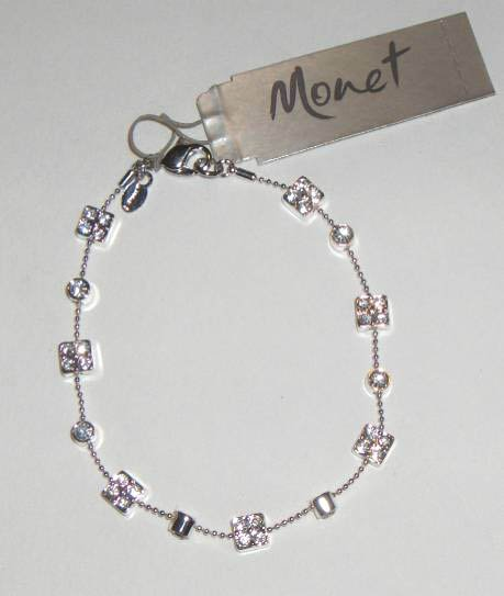 "Brand New Monet 7 1/2"" Bracelet Silver Tone with Crystals Set of 2"