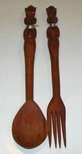 Vintage Teak Salad Fork & Spoon - Kayan 'Giraffe' Women Handles