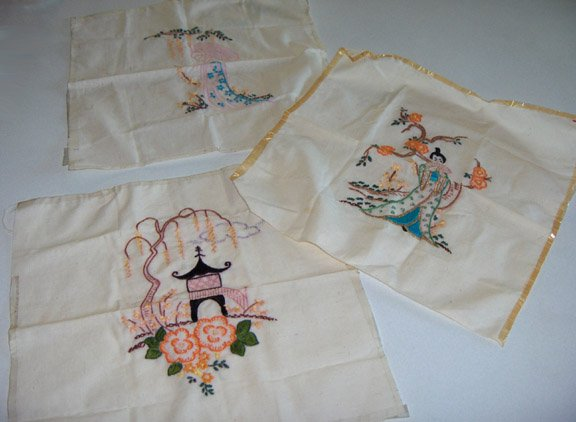 Vintage Embroidered Muslin Squares for Pillow or Quilting