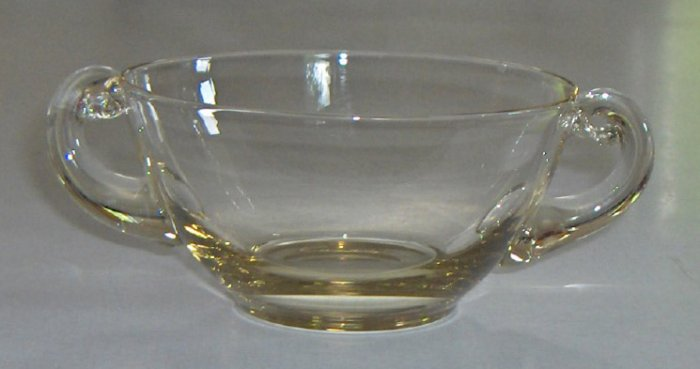 Vintage Citron Yellow Glass Two Handled Cream Cup Bowl