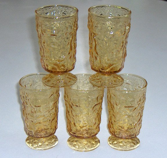 Vintage Anchor Hocking Amber Milano Lido Footed Juice Glasses - Set of 5