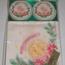 Vintage Christmas Paper Napkins & Coaster Japan MIP