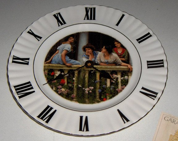 Smiths UK Porcelain Clock Plate - Victorian Young Ladies on Porch MIB