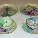 Vintage Lefton Hand-Painted Floral Plates with Cup & Saucers - Set of 2 each