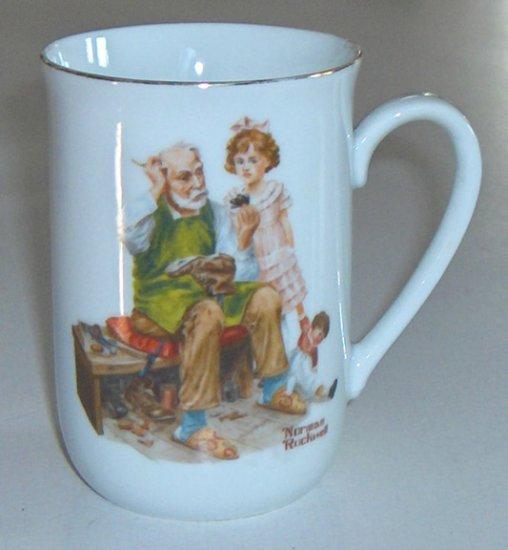 """Vintage 1982 Norman Rockwell Museum Porcelain Mug """"The Cobbler"""""""