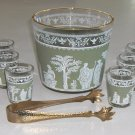 Jeannette HELLENIC Green Ice Bucket & 6 Shot Glasses circa 1960s
