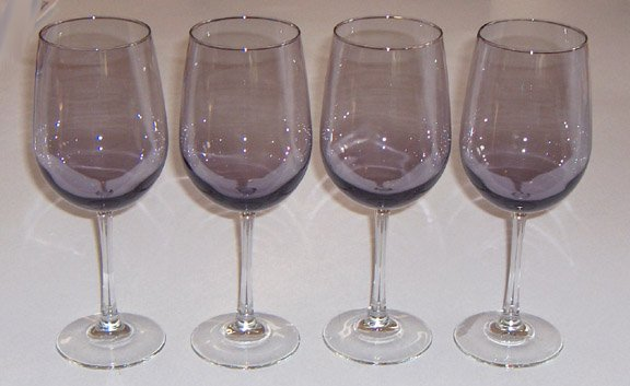 Amethyst Glass Clear Stem Wine Glass Set of 4