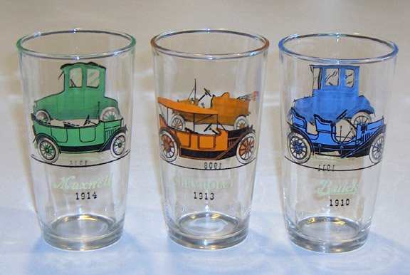 Vintage Hazel Atlas Antique Autos Tumblers - Set of 3