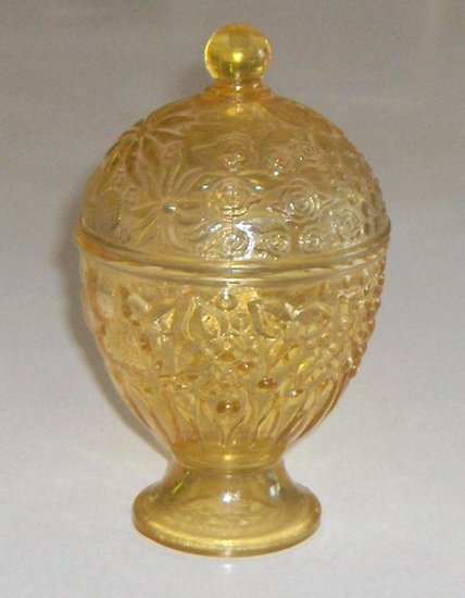 AVON Flash Yellow Glass Candy Dish with Lid