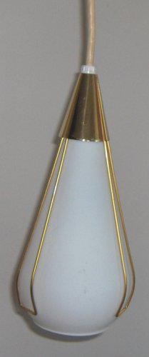 Vintage Drop Pendant Frosted Glass Eames Era Ceiling Light by Moe Lighting