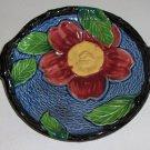 Vintage Majolica Floral Platter with Twig Handles