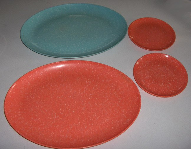 Vintage Melamine Melmac Speckled Blue & Orange Platters