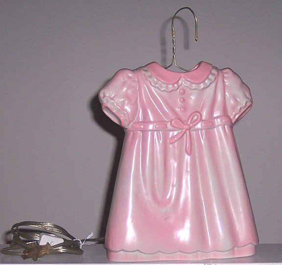Vintage SARSAPARILLA Designs Pink Girl's Dress Night Light 1985