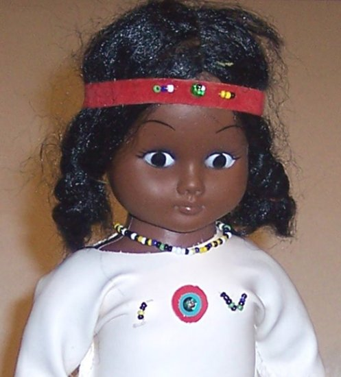 Vintage Native American Indian Vinyl Doll - Hong Kong 1960s