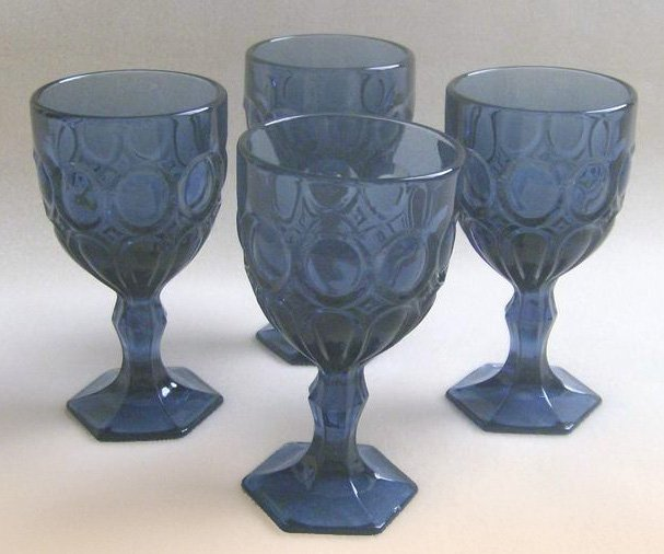 Fostoria Moonstone Dark Blue Glass Water Goblets � Set of 4