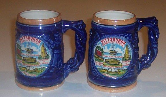 Vintage Souvenir Pittsburgh Lusterware Mug Stein - MIJ Set of 2