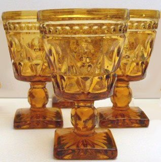 Indiana Glass Park Lane Amber 4 1/2 oz. Wine Glass - Set of 8