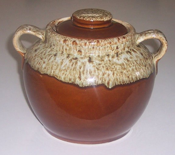 Vintage Brown Drip Handled Bean Pot with Lid