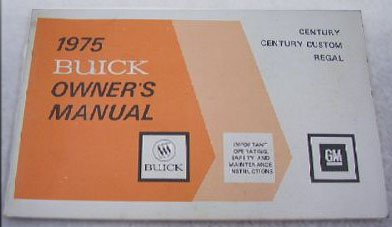 1975 Buick Century Regal Century Custom Owner's Manual