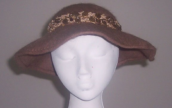 Vintage Henry Pollack Llamasene Wool Mauvy Brown Wide Brim Hat with Bow